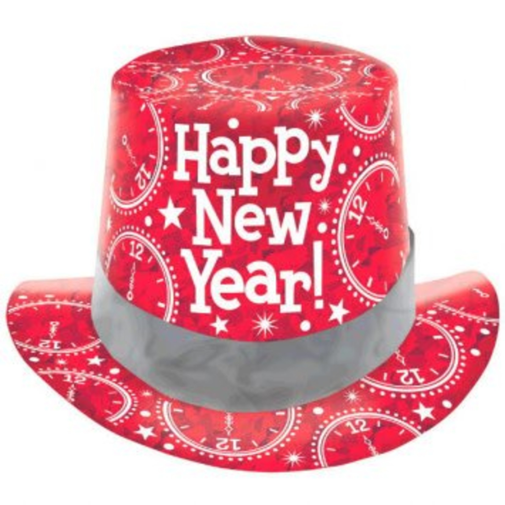 Amscan CHAPEAU HAUT DE FORME ROUGE PRISMATIQUE NEW YEAR