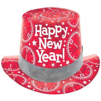 Amscan CHAPEAU HAUT DE FORME ROUGE PRISMATIQUE NEW YEAR