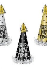 Amscan CHAPEAU CÔNIQUE GRAND FORMAT: HAPPY NEW YEAR (1) - OR ET NOIR