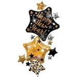 Anagram BALLON MYLAR SUPERSHAPE - 3 ÉTOILES HAPPY NEW YEAR