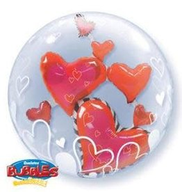 "Qualatex LOVELY FLOAT HEARTS 24"" DOUBLE BUBBLE"