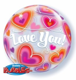 Qualatex BALLON BUBBLES 22'' - LOVE YOU