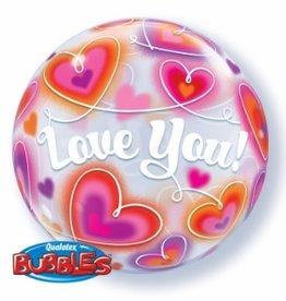 Qualatex BALLON BUBBLES 22'' - LOVE YOU