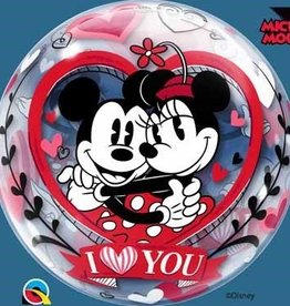 Qualatex BALLON BUBBLES 22'' - MINNIE & MICKEY LOVE YOU