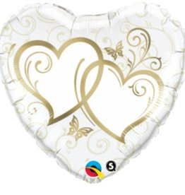 Qualatex MYLAR 18'' HEART - ENTWINED HEARTS GOLD