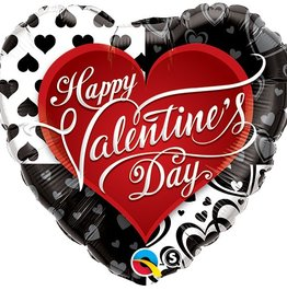 Qualatex BALLON MYLAR 18'' COEUR - HAPPY VALENTINE'S DAY