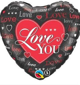 Qualatex BALLON MYLAR 18'' COEUR - LOVE YOU