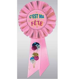Beistle Co. AWARD RIBBON - C'EST MA FÊTE (PINK)