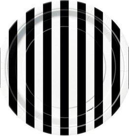 """Unique ASSIETTES 7""""  (8) - LIGNÉS NOIR & BLANC"""