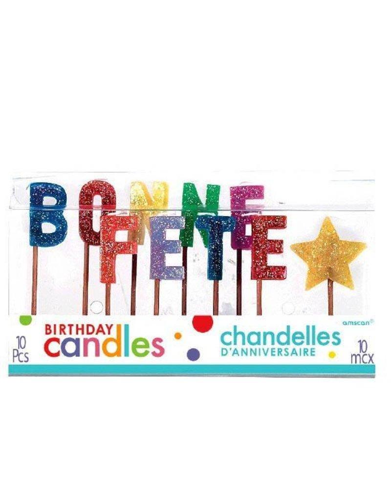 """Amscan CHANDELLES SUR PICS 5"""" - BONNE FETE (10)"""