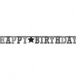 """Amscan BANNIÈRE GÉANTE HAPPY BIRTHDAY (11' x 12 1/2"""") - NOIR ET BLANC"""
