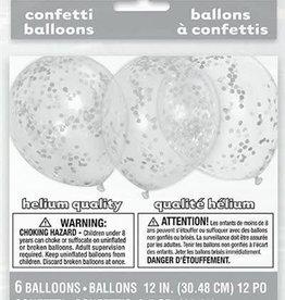 Unique BALLONS LATEX TRANSPARENTS AVEC  CONFETTIS ARGENT (6)