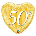 Qualatex BALLON MYLAR 18PO - COEUR - HAPPY 50TH ANNIVERSARY