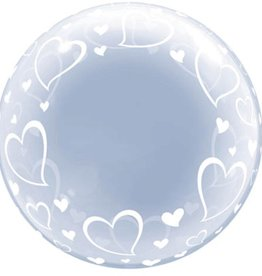 Qualatex BALLON BUBBLE DÉCO 24'' - COEURS
