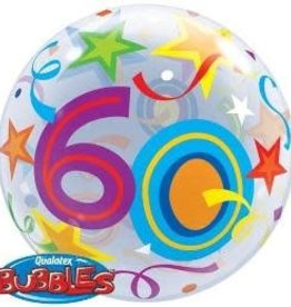 Qualatex BALLON BUBBLES 60ANS COLORÉ