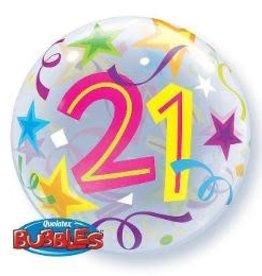 "Qualatex BALLON BUBBLES 22"" 21 ANS"