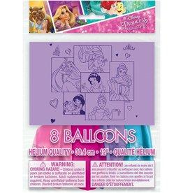 Unique SAC DE BALLONS LATEX 12'' (8) - PRINCESSES DISNEY