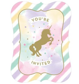 Creative Converting INVITATIONS (8) - LICORNE PASTEL