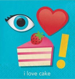 Creative Converting SERVIETTES DE TABLE (16) - ÉMOJI (I LOVE CAKE)