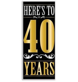 Beistle Co. AFFICHE DE PORTE (30''X6')  - HERE'S TO 40 YEARS