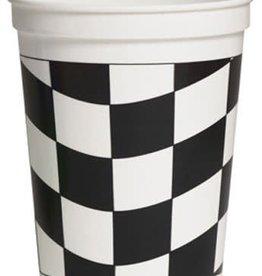 Creative Converting Black & White Check 16 oz Plastic Stadium Cup