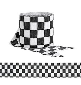 Creative Converting Black & White Check Crepe Streamer, 30