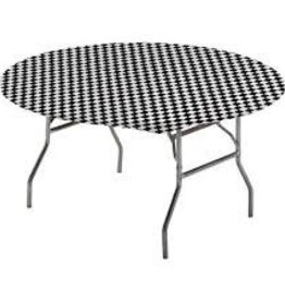 """Creative Converting Stay Put Tablecover 60"""" Round, Black Check"""