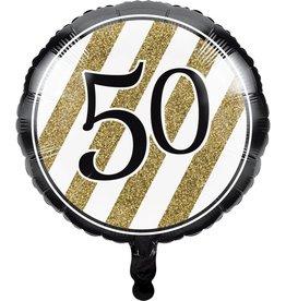 Creative Converting BALLON MYLAR 18PO - NOIR & OR 50ANS