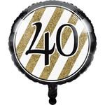 Creative Converting BALLON MYLAR 18PO - NOIR & OR 40ANS