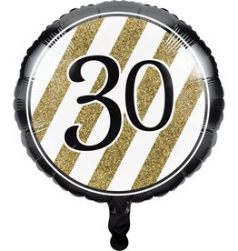Creative Converting BALLON MYLAR 18PO - NOIR & OR 30ANS