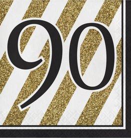 Creative Converting SERVIETTES DE TABLE (16) - NOIR & OR 90 ANS