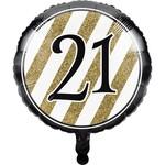 Creative Converting BALLON MYLAR 18PO - NOIR & OR 21ANS