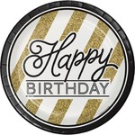 Creative Converting ASSIETTES 9PO (8) - NOIR & OR HAPPY BDAY