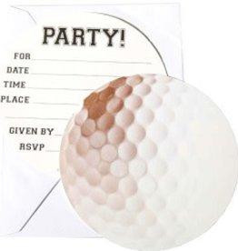 Creative Converting Sports Fanatic Golf Invitation, Diecut Postcard