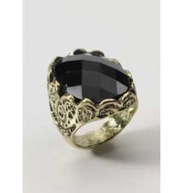 Forum Novelty MEDIEVAL FANT.BLACK STONE RING