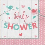 Creative Converting SERVIETTES DE TABLE (16) - OISILLONS ROSES: BABY SHOWER