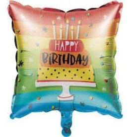 Creative Converting BALLON MYLAR 18PO - HAPPY BIRTHDAY ARC-EN-CIEL CARRÉ
