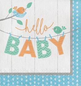 Creative Converting SERVIETTES DE TABLE (16) - OISILLONS BLEUS: HELLO BABY