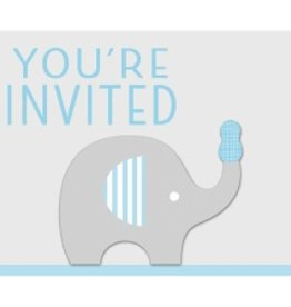 Creative Converting CARTE D'INVITATION ÉLÉPHANT BLEU