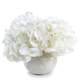 White Hydrangea in White Crackle Glazed Vase