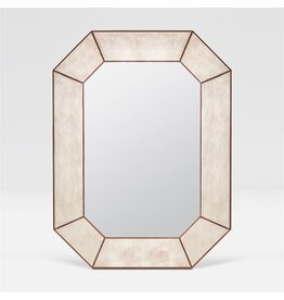 Elliot Warm Silver Faux Linen Mirror 35''W x 47''H
