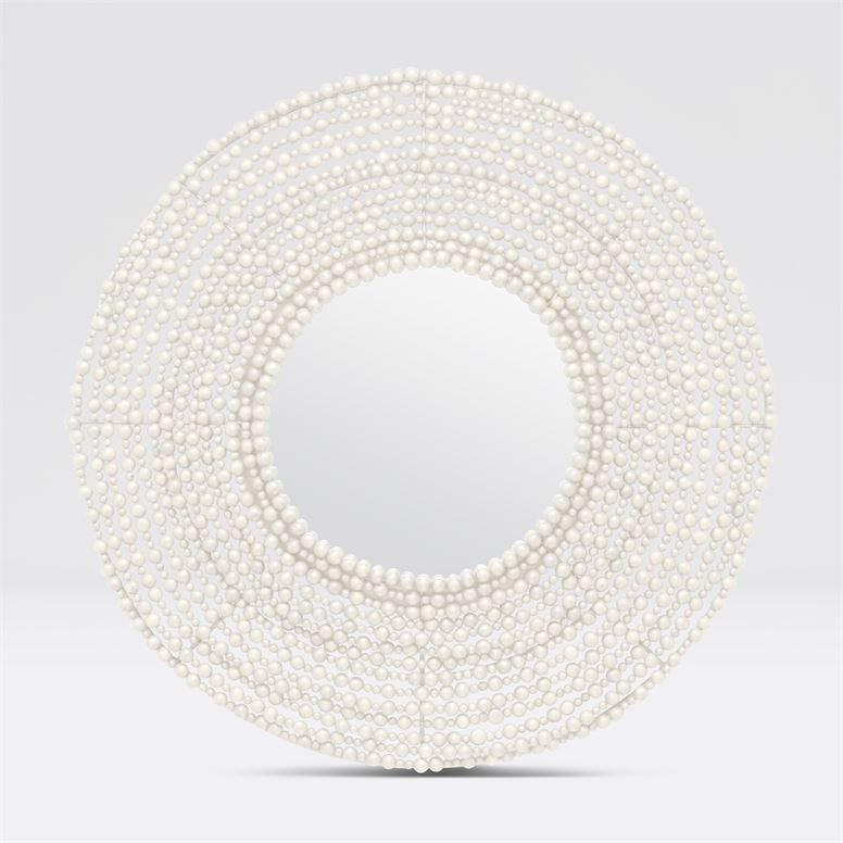 Jena White Wood Bead Mirror 45''