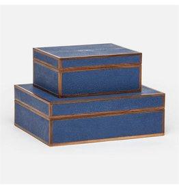 "Cooper Navy Faux Shagreen Box Set 12""L x 10""W x 5""H"