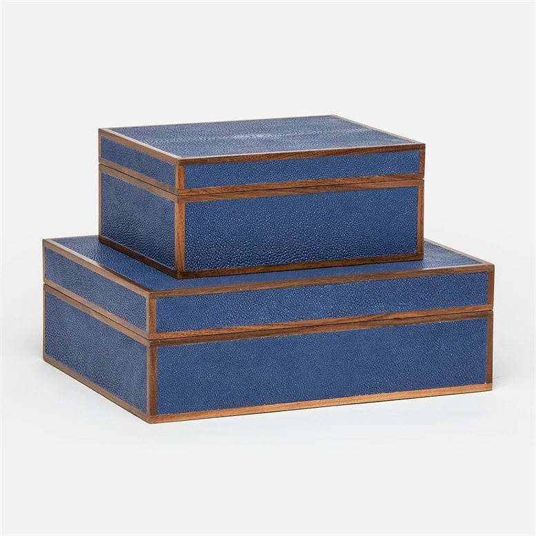 "Cooper Navy Faux Shagreen Box Set 12""L x 10""W x 5""H"