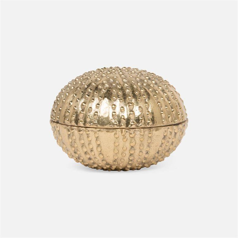 "Obelia Gold Brass Clamshell Box 6""D x 5""H"