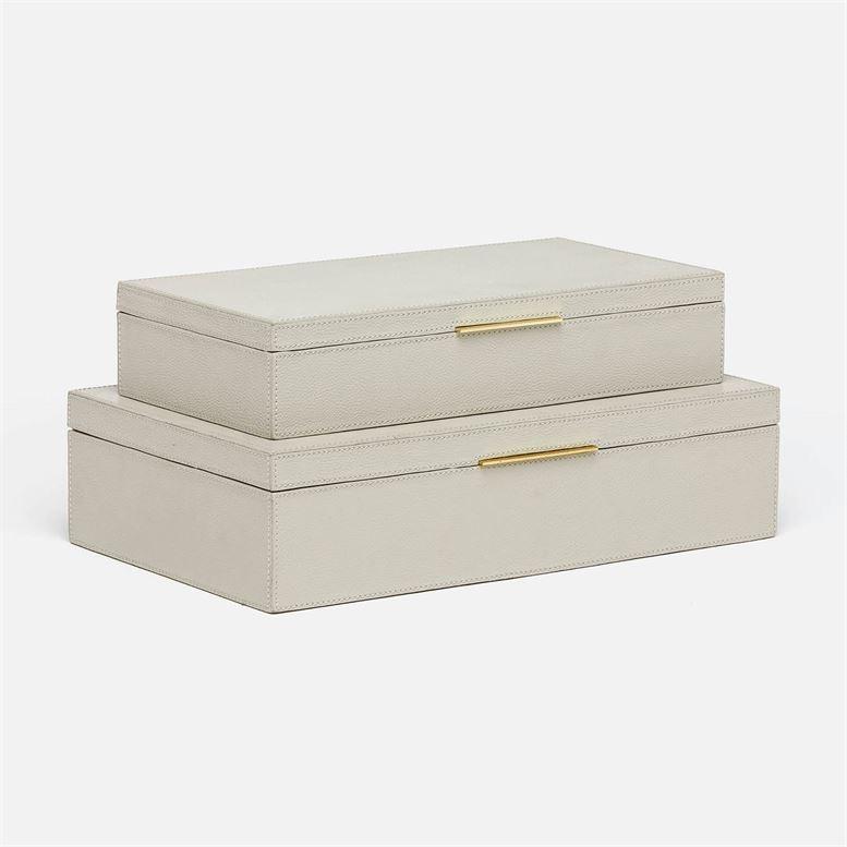 "Ralston Light Grey Leather Box Set 14""L x 9""W x 4""H"