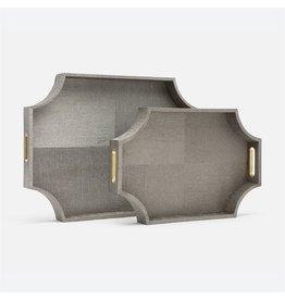 Paden Pewter Faux Silk & Brass Tray Set 25''x18''