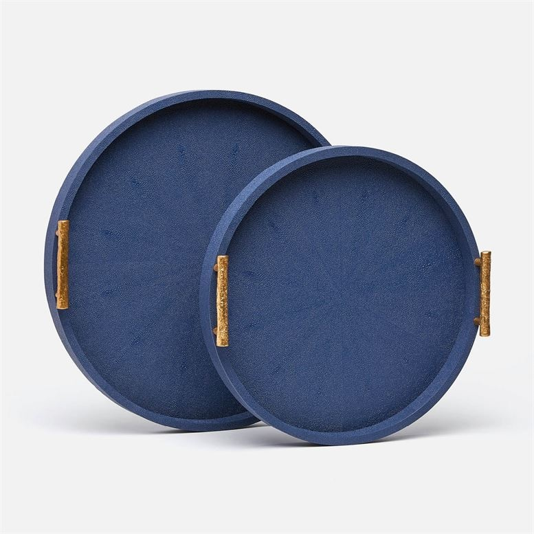 Doris Navy Faux Shagreen Tray Set 20''