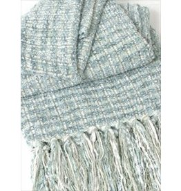 Spa Ivory Plush Tweed Throw 42x72