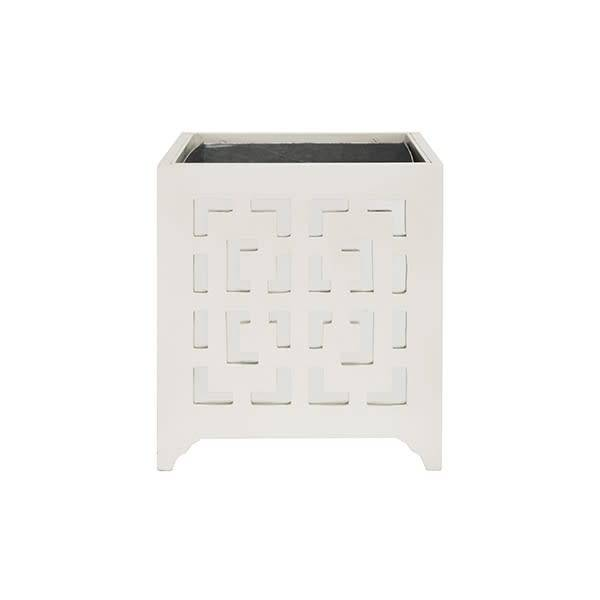Greek Key Motif Planter White with Mirror